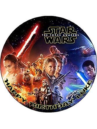 Star Wars The Force Awakens 75inch Round personalised birthday cake