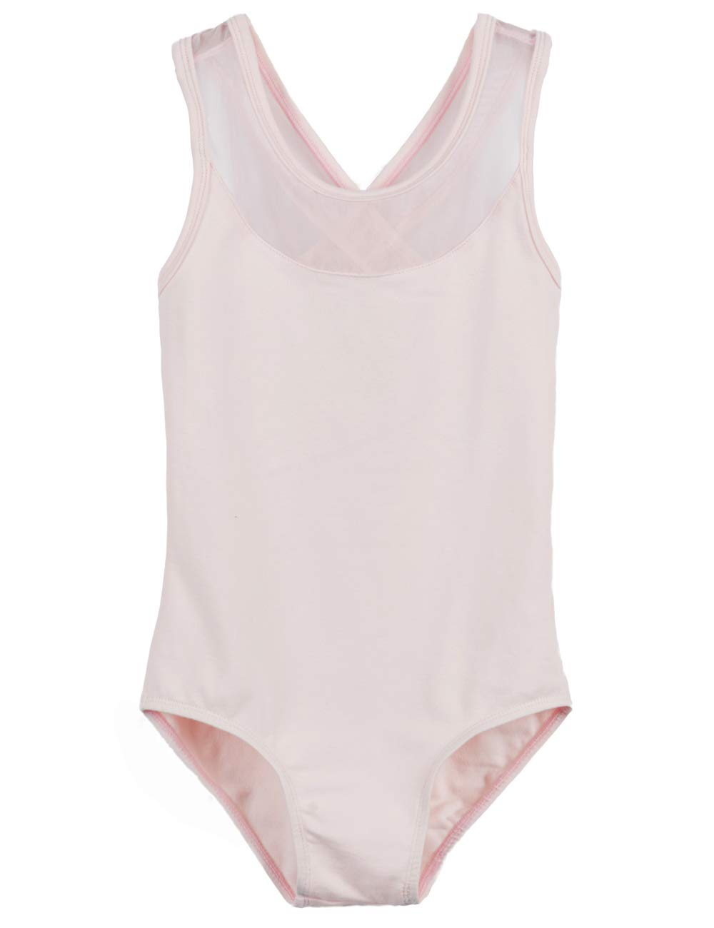 MdnMd Dancewear Leotard for Girls with Mesh Cross Back (Ballet Pink, Age 10-12,Height 55-59'') by MdnMd