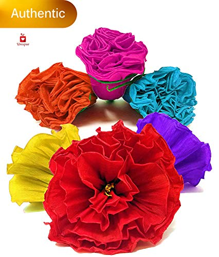 Alondra's Imports Uniquely Handcrafted, Festive Mexican Paper Flowers (Party Decorations, Paper Flowers for Decoration, Flor De Papel para Decoracion) Unique Assorted (6 Pack) (Mexican Paper Flower Bouquet)