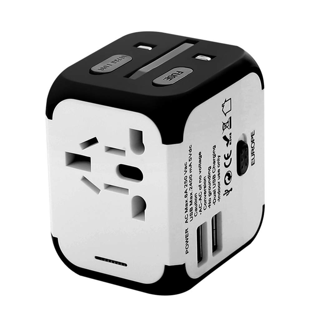 BEIQIHHY Conversion Plug Socket Power Converter Multi-Function Global Travel Abroad omnipotent, White Black Side (Dual USB)
