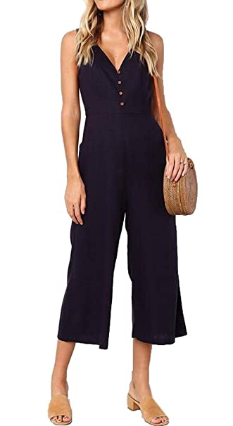 9da84d805577 SHOWNO Women s Pockets Sleeveless Solid Color Backless V Neck Jumpsuit  Romper Black XS