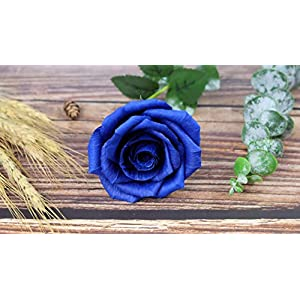Royal Navy Blue Paper Rose Unique Anniversary Gift For Her Handmade Crepe Paper Flowers for Valentine Birthday Mother Day, Single Long Stem Real Looking, 01 Flower 7