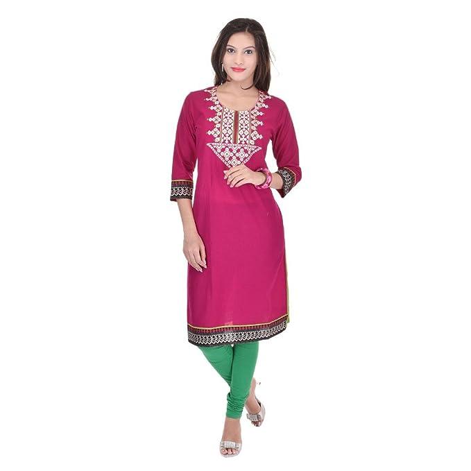 feead293f7e Vihaan Impex Indian Kurtis for Women Kurti Kurtas for Women Bust Size 46 Inches  Pink Kurti