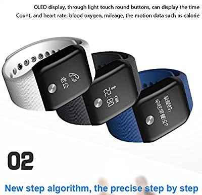 Getfitsoo Smart Bracelet Watch, Swimming Waterproof Fitness Tracker Heart Rate Blood Oxygen Mmonitor Bluetooth Sport Wristband Steps Calories Counter Call SMS Rminding Android & iOS