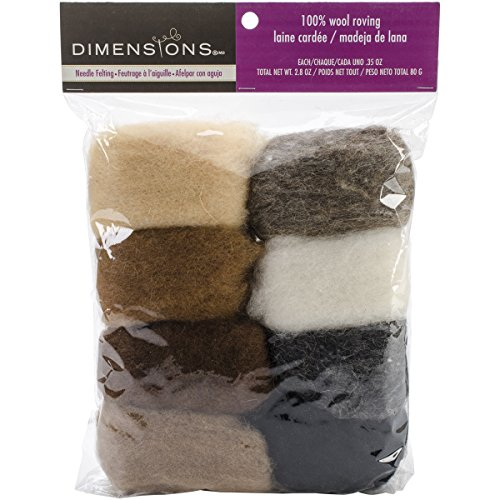 Dimensions Crafts 72-74004 Earth Tone Wool Roving for Needle Felting, - Shades Online Buy