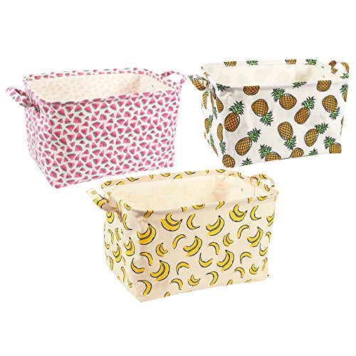 3-Pack Canvas Storage Bins - Perfect for Storing Household Items, Clothes or Toys - Fruit Themed, 16.75 x 9.25 x 11.75 Inches (Fruit Basket Watermelon)