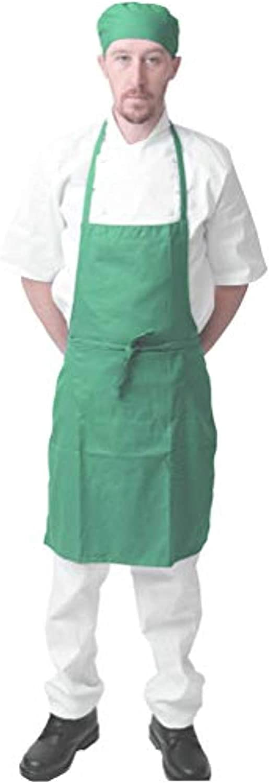 Waiters Restaurants Black Pepper Polycotton Halter Neck Bib Apron with Pocket for Chefs