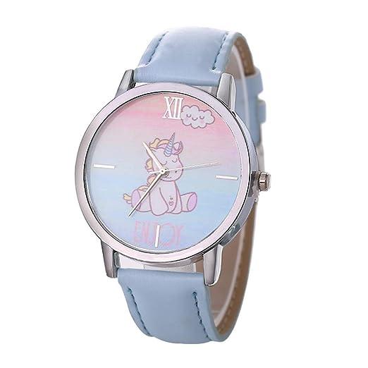 jingyuu Reloj de Metal para Infantil - Reloj de Cuarzo Correa Cuero Forma de Unicornio Dibujos Animados para Niños Niñas(Azul Claro): Amazon.es: Relojes