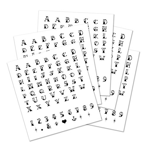 (Temporary Tattoo Alphabet Letters - Realistic Black Letter, Number & Symbol Semi-Permanent Tattoo - 5 Letter Set Sheets - Cut Apart and Make Your Own, Letter Size - 0.5
