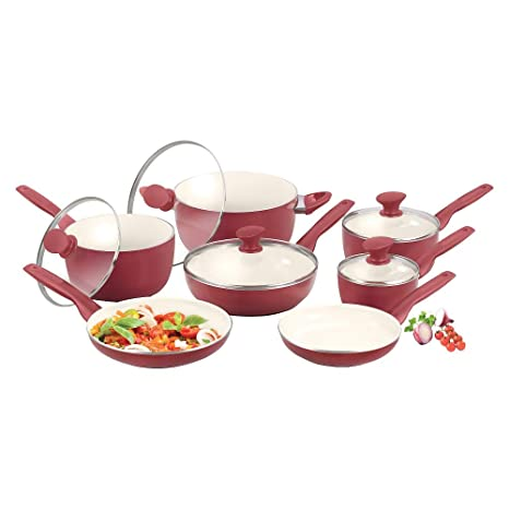 GreenPan Rio 12pc Cookware Set - Burgundy