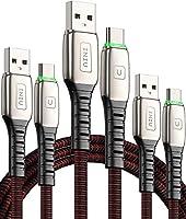 【3本セット】INIU USB Type C ケーブル【0.5+1+2m】3A QuickCharge3.0 急速充電 USBタイプCケーブル 編みファブリック USB A to USB C サムソン Galaxy...