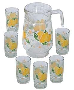 7 Pcs Glass Drinking Set - Lemon Design (Item #70-885)