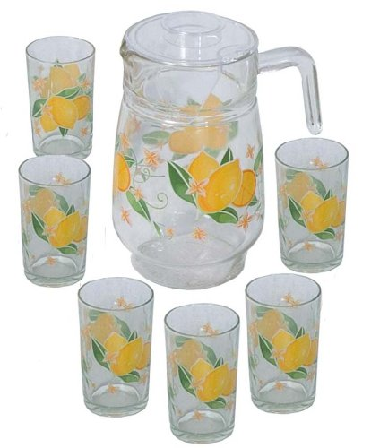 7 Pcs Glass Drinking Set - Lemon Design (Item #70-885)