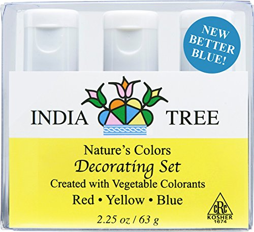 India Tree Natural Decorating Colors, 3 bottles(red,yellow,blue)2.25 oz/63 grams - Five Color Natural