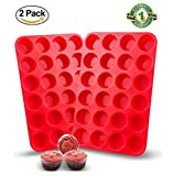 2 Packs Silicone Mini Muffin Pan, Unop 24 Cups BPA-Free Non-Stick Food Grade Silicone Baking Mold Round Cup for Cupcakes/Muffins/Mni Cakes (Red)
