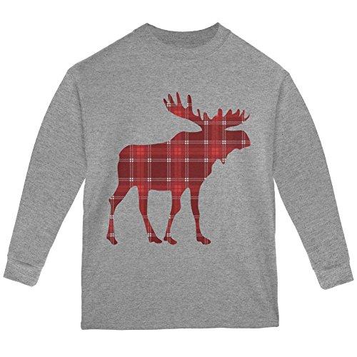 (Old Glory Autumn Plaid Moose Youth Long Sleeve T Shirt Storm Grey YSM )