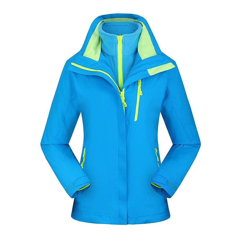 Ommda Hardshelljacke Damen Wasserdicht Atmungsaktiv Outdoor Kapuzenjacke 3-in-1 mit Abnehmbare Fleece