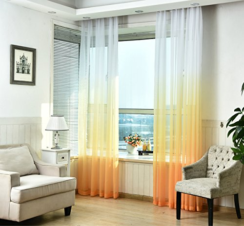TIYANA Rod Pocket Top Novelty Gradient Sheer Curtains Drapes Window Treatment Voile Panels Tulle Curtains Gauze Curtains for Living Room Kids Room, 1 Panel (W40 x L96 inch, White and Yellow)