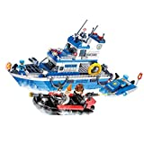 WOMA Police Set Coast Guard Patrol Boat Lego Compatible Building Kits Policemen Figures Brick Construction Toys Kids 6-12 Years Old - 540pcs
