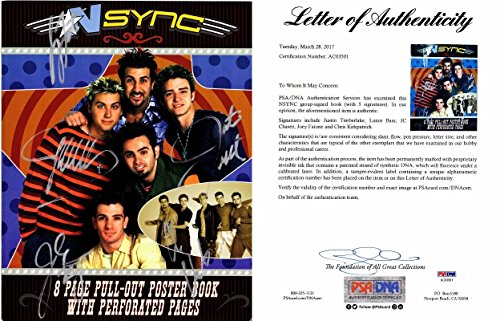Justin Timberlake, JC Chasez, Lance Bass, Joey Fatone, and Chris Kirkpatrick Signed - Autographed NSYNC 11x14 inch Photo Book - NO STRINGS ATTACHED Tour Book - Certificate of Authenticity (COA) - FULL Letter - PSA/DNA Certified