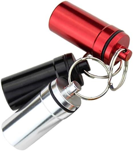 Exceart Portapillole 3Pz Portachiavi Scatola Portapillole Impermeabile Portapillole Portatile Porta Pillole in Lega di Alluminio Rosso Argento Nero