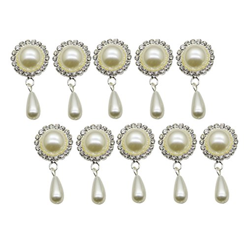 cate Metal Rhinestone Crystal Buttons Flatback Round Pearl Embellishments with Pearl Drops Charms for Scrapbooking/Wedding Invitations/Phone/Craft/Hair Flower Center Decorations ()