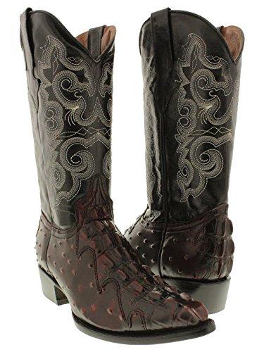 Team West - Men's Black Cherry Crocodile & Ostrich Design Leather Cowboy Boots 12.5 E US