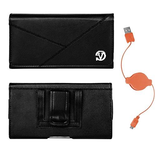 Vangoddy Intercept Slim Black Leather Belt Clip Holster for Samsung Z, Ativ SE, Galaxy A5, A7, E5, E7, K Zoom and Micro USB Cable (Orange) (Case Se Orange Ativ Samsung)