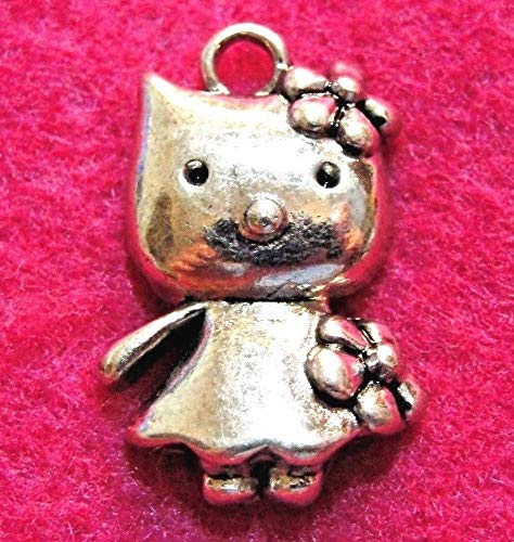 50Pcs. Wholesale Tibetan Silver Hello Kitty Cat Charms Pendants Ear Drops Q1292 Crafting Key Chain Bracelet Necklace Jewelry Accessories Pendants -