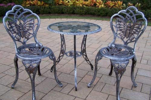 (Oakland Living Butterfly Cast Aluminum 24-Inch Glass Top Table with 3-Piece Bistro Set, Antique Pewter)