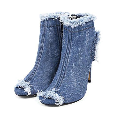 H HAutunno femmina blu denim panno trafitto fine tallone di pesce bocca corta stivali di gomma antiscivolo usura-resistenza , 1 , 37