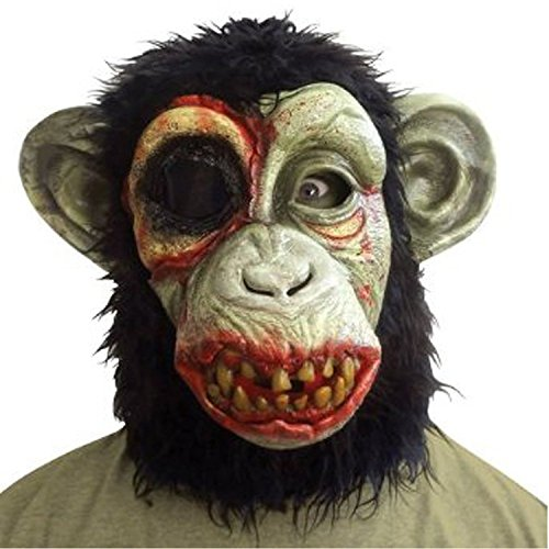 [Chimp Mask / Monkey Mask Full Head Latex Mask Halloween Costume; Standard Size; By Fun World] (Halloween Costumes With Mask)