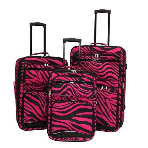 Three Piece Dark Pink Lightweight Wheeled Briefcase, Zebra Pattern, Nylon Material Upright Luggage Set, Inline Skate Wheels, Telescoping Handle For Easy To Carry, Vibrant Black