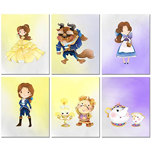 Beauty and The Beast Prints - Set of Six Original Watercolor Kids Bedroom Nursery Wall Art Decor 8x10 Photos Belle Prince Beast Cogsworth Lumiere Mrs Potts Chip