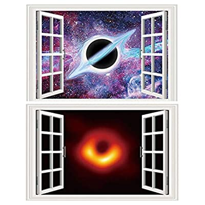 Amaonm 2 Pack Creative Removable 3D Black Hole Wall Stickers Outer of Space Scene Through The Wall Fake Window Wall Decals Art Decor for Kids Baby Nursery Bedroom Living Room Playroom (E): Baby