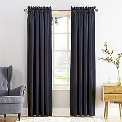 "Sun Zero Barrow Energy Efficient Rod Pocket Curtain Panel,Navy Blue,54"" x 84"""