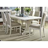 Liberty Furniture 7 Piece Linen Finish Harbor View II Dining Trestle Table Set
