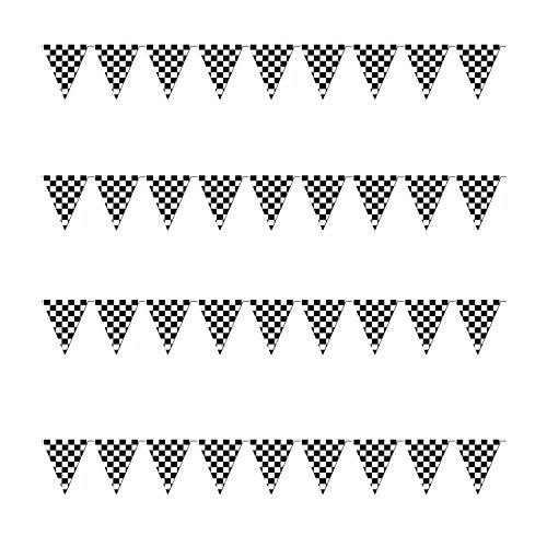 Checkered Flags Black and White 100' FT Pennant Racing Banner | NASCAR Theme Party Decoration Plastic Flag | Race Car Parties Décor | Decorative Birthday BBQ Bar Hanging Accessories | 1 Banner -