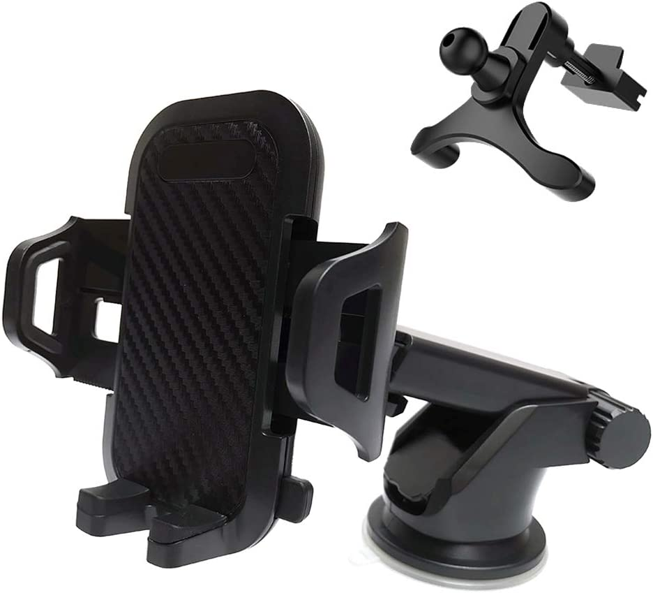 Car Phone Holder,Universal Phone Car Mount for Air Vent /& Dashboard /& Windshield,Cradle /& Charger for iPhone Xs Max R X 8 Plus 7 Plus 6S Samsung Galaxy S9 S8 Edge S7 S6 LG Sony and More
