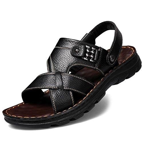 toe Piscina Slip Pantofole Da Outdoor Escursionismo Da Walking Black1 Uomo Open Scarpe Sandal Vera Da MERRYHE Piatto On In Sandali Pelle Spiaggia Estivo PpxwaZa7qO