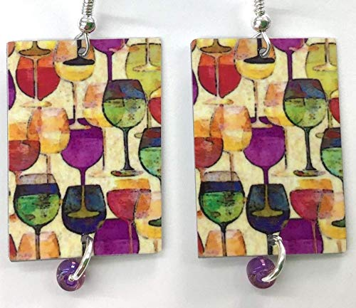 (Vineyard Wine Earrings, Wine Glasses, Wine Lover Gift, Sterling Silver, 2 Designs Available, Matched or MisMatched Earrings, Great Wine Gift)