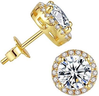 Cubic Zirconia Stud Earrings for Women - 18k Gold Plated Halo Hypoallergenic Earrings, Round Cut CZ Stud Earrings for Jewelry Gift 6.4mm/8.4mm/9.5mm