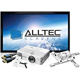 """AlltecPro 4K Home Theater System with 4K projector, 100"""" Fixed Frame Projection Screen, Decorative Wall Plate, Mount and Active HDMI Cables"""