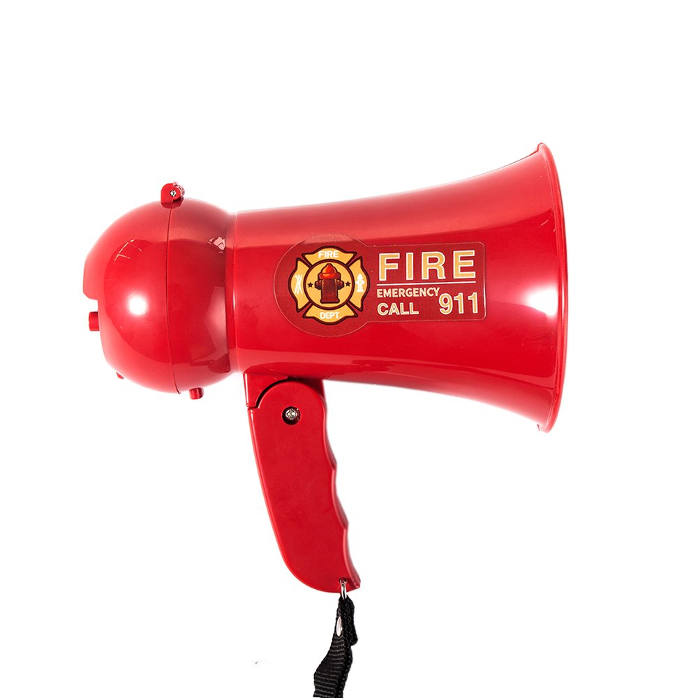 MyMealivos Pretend Play Kids Fire Fighter's Megaphone (Bullhorn) with Siren Sound. Handheld Mic Toy