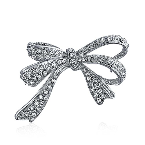 Pin Bow Pave (Bling Jewelry Tone Clear CZ Pave Christmas Ribbon Bow Brooch Pin Silver Plated)