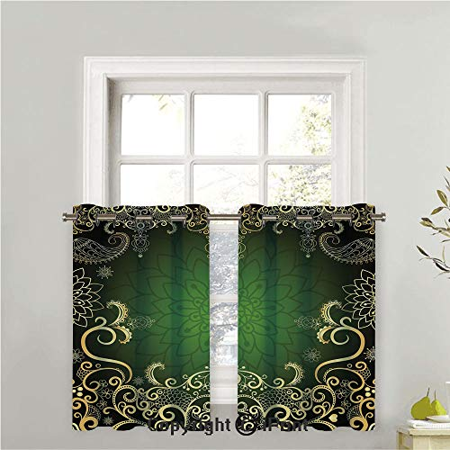 Tier Two Arabesque - Half Window Panel Drapes for Kitchen/Cafe,Curtains Energy Saving Grommet Curtain Tiers for Bedroom,Sold by 2 Pieces,Arabesque Frame with Lotus Shade Floral Swirls Little Hearts and Dots Decorative,42