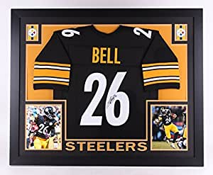 LeVeon Bell Autographed Signed Pittsburg Steelers Custom Framed 35x43 Jersey Certified Authentic JSA Sig Dog Witnessed Hologram & Coa Card
