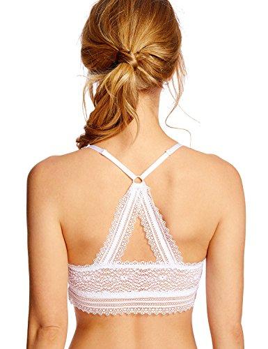 Lace Longline Soft Cup - DOBREVA Women's Wire Free Deep V Lace Back Lightly Lined Soft Lace Bralette White S