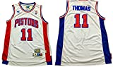 Pistons 11 Isiah Thomas White Hardwood Classics Swingman Jersey Size-S