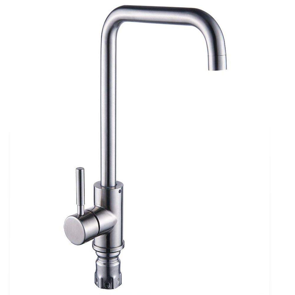TOOGOO Kitchen Sink Mixer Taps Single Lever Handle Swivel Spout Tap Faucet Brushed